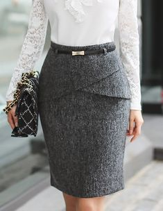 Crossover Front Flaps Belted Pencill Skirt, Styleonme Crossover Front Flaps com cinto saia lápis, Styleonme Classy Work Outfits, Classy Dress, Mode Abaya, Latest African Fashion Dresses, Work Attire, Skirt Outfits, Dress Skirt, Business Fashion, Fashion Outfits