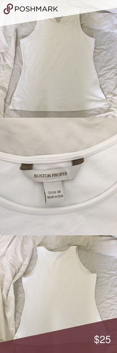 "School sale!! White Boston Proper sleeveless top M Cute and versatile white sleeveless Boston Proper top size M. Bust 36"" length 23"" Boston Proper Tops"