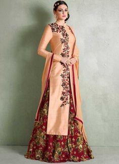 Orange Red Embroidery Work Bhagalpuri Silk Chiffon  Designer Anarkali Suit http://www.angelnx.com/Salwar-Kameez