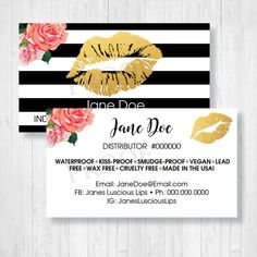High quality, custom LipSense-themed business cards to hand out at shows or pass along to customers who want to get in contact with you. Leave next to your LipSense selection so they know who to call when they're ready to come back for more. We give you a choice of a front and a back, custom printed with your information. This design and many more available at www.pdqlipprints.com