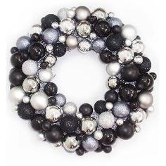 Black and silver ornament wreath/NEVER THOUGHT ABOUT BLACK AND SILVER FOR CHRISTMAS, BUT IT'S REALLY PRETTY