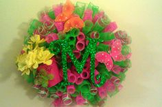Lime Green and Pink Spiral Deco Mesh Butterfly and Flower Wreath