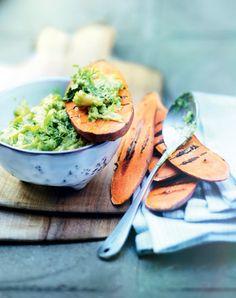 Recette green : Tartines de patates douces, purée d'avocats