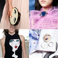 The Blue EYEs Trend for SS 2016. Erin Fetherston, Gucci, Giamba, and Marc Jacobs Spring Summer 2016.