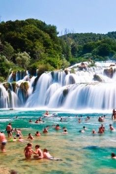 Krka National Park is home to the unique travertine waterfalls.