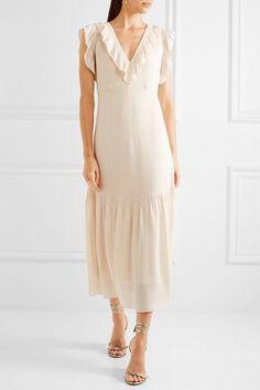Vilshenko - Valencia Ruffled Silk-georgette Midi Dress - Cream - UK12