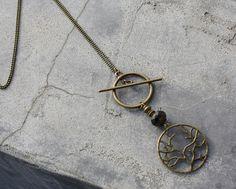 Bijou Créateur - Sautoir chaîne Bronze Pendentif arbre de vie perle verre donut noir antique fermoir toggle