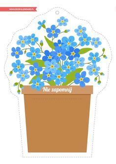 Niezapominajka-przypominacz - do wydrukowania i wycięcia Forget Me Not, Printables, Children, Spring, Flowers, Pattern, Diy, Decor, Garden