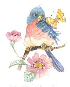 A 5 x 4 original watercolor of a bird, a flower and a butterfly by Carolyn Shores Wright. Birds of all types--serious, whimsical and humorous--have always been one of her favorite subjects. Funny Birds, Cute Birds, Paper Birds, China Painting, Bird Drawings, Bird Pictures, Whimsical Art, Bird Prints, Illustrations