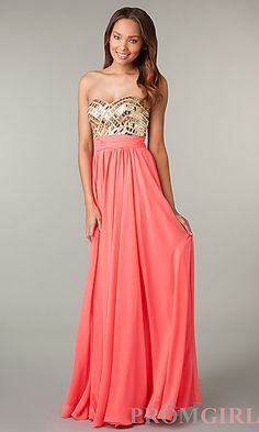 Strapless Sweetheart Full Length Dress at PromGirl.com #fashion #prom #dresses