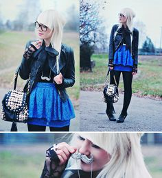Moustache Necklace, Leather Jacket, Lace Blouse, Lace Skirt, Bag