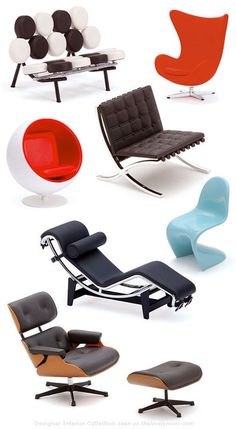 Iconic chairs of the 20th century - eames lounge chair, le corbusier chaise lounge and ottoman, panton, arne jacobsen egg, barcelona, ball chair et al