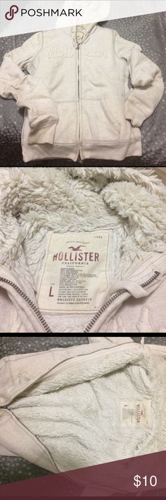 Super warm and fuzzy Hollister hoodie As stated this item is a super warm and fuzzy (and still really soft) hoodie from Hollister. Some light stains that can be removed with bleach 😊👌 make me an offer! Hollister Jackets & Coats