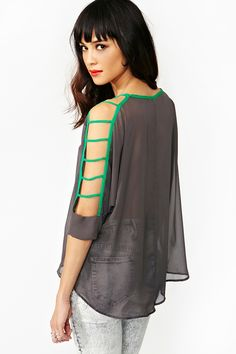 Pop Cutout Top - Gray. uh, i'd wear something underneath it, but yeah. nice shirt.