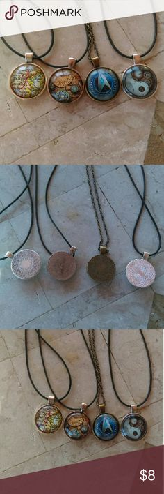 """Lot of 4 Different Design Cabochon Necklaces Here is a small lot of 4 Cabochon Necklaces, each Design is different, each Cabochon is about 1"""" in Size. Made of Alloy, the Necklaces are great gifts, or a nice lot for resale. Jewelry Necklaces"""