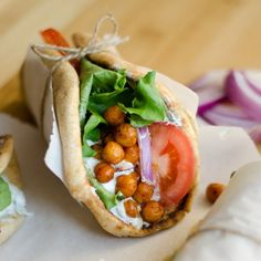 Hearty and delicious roasted chickpea gyros