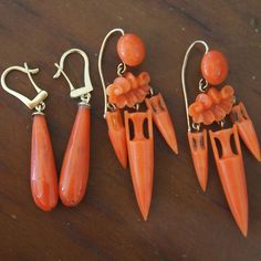 Beautiful antique coral earrings from Uchizono Gallery!
