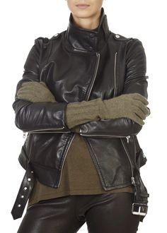 The 'Janice' Olive Green Cashmere Gloves by 360 Cashmere is the essential piece your closet needs. The Janice cashmere gloves will keep you snug and warm on chilly days. Complete with ribbed cuffs. Cashmere Gloves, Snug, Olive Green, Motorcycle Jacket, Long Sleeve Tops, Shop Now, Leather Jacket, Cuffs