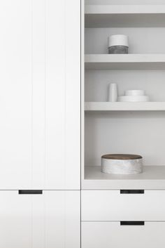 white modern kitchen, open shelves