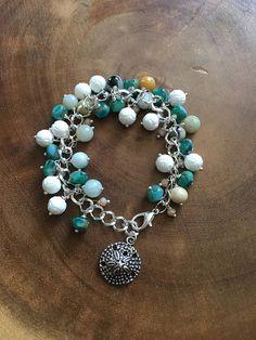 Sand Dollar Bracelet Blue Green Jade Jewelry Ocean Bracelet