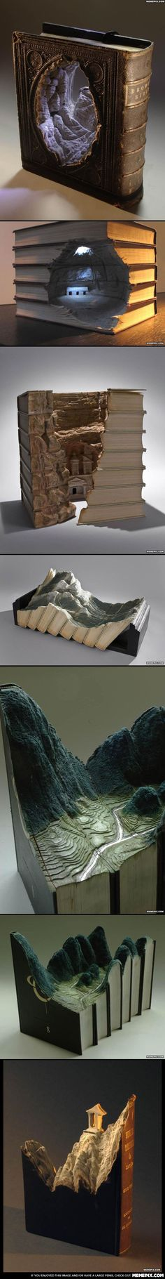 landscapes carved in books