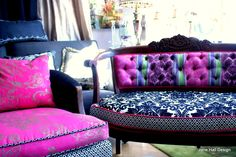 Modern Baroque Design...Love the use of different fabrics  in each  piece...great idea!