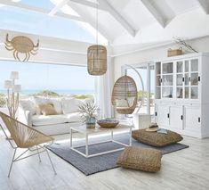 Boho Living Room, Living Room Decor, Barn Living, Hamptons Living Room, Living Area, Living Spaces, Dream Beach Houses, Modern Beach Houses, Hamptons Beach Houses