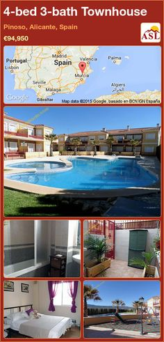 Townhouse for Sale in Pinoso, Alicante, Spain with 4 bedrooms, 3 bathrooms - A Spanish Life Murcia, Valencia, Portugal, Alicante Spain, Townhouse, Spanish, Bath, Bedroom, Life