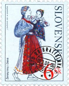 Stamps, covers and postcards of traditional/folk costumes: Stamps / Costumes - Slovakia / Slovakija Folk Costume, Costumes, Roman Artifacts, Old Stamps, Postage Stamp Art, Heart Of Europe, Postcard Art, Fauna, Mail Art