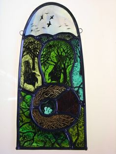 Beautiful rural-themed stained glass panel by Tamsin Abbott. Stained Glass Paint, Stained Glass Designs, Stained Glass Panels, Stained Glass Projects, Leaded Glass, Mosaic Art, Mosaic Glass, Fused Glass, Glass Art