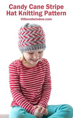 The candy cane stripe hat knitting pattern is an adorable Christmas baby hat with alternating candy cane stripes on a gray background! Baby Hat Knitting Pattern, Fair Isle Knitting Patterns, Baby Hat Patterns, Christmas Knitting Patterns, Creative Knitting, Knitting For Kids, Knitting Projects, Ravelry, Baby Hut