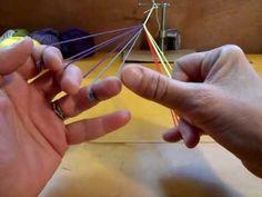 Basic fingerloop braid of 7 loops: Divided, Square, & Flat Medieval Pattern, Medieval Crafts, Weaving Designs, Tablet Weaving, Micro Macramé, Passementerie, Bracelet Crafts, Sewing Art, Macrame Tutorial