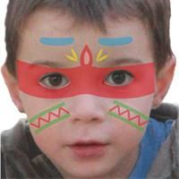 Indisches Kindermake-up Tuto-Kindermake-up - kreative Hobbys - Face Painting Images, Face Painting Tutorials, Maquillage Halloween, Halloween Makeup, Pocahontas Birthday Party, Native American Face Paint, Last Minute Costumes, Cowboy Birthday, Tiki Party