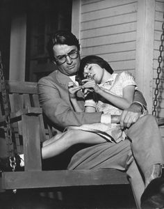 Mary Badham and Gregory Peck on the set of To Kill a Mockingbird (1962)