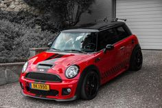 Mini Cooper, Red & Black, Bumper Cover Air Intake, Frame Rail Cover, Kick Plate, Door sill Cover