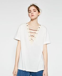 Image 2 of CORD DETAIL T-SHIRT from Zara