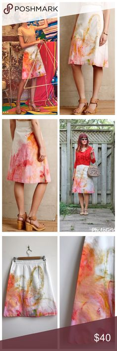 NIP Anthropologie Painter's Palette Skirt | Size 2 Anthro has transferred artist Claire Desjardins' painting onto crisp cotton for this A-line skirt.  Details: Quebec artist Claire Desjardins is best described using her own mantra: each of us is the maker of our own destiny. Desjardins is best known for her use of vibrant colors inspired by graffiti, street art and Abstract Expressionism.    A-line silhouette  Side zip  Cotton-Lycra; Machine wash NIP -- plastic Anthro package has been opened…