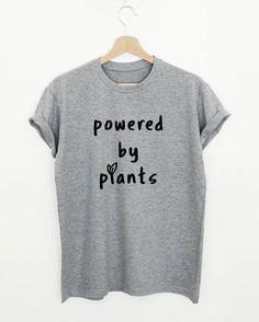 21f06233262 Powered by plants vegan womens or unisex t-shirt. Funny Shirts Women