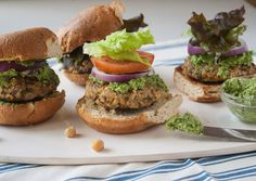 Chickpea Mushroom Burgers with Mustard Green Pesto (vegan) - Dishing Up the Dirt