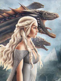 Mother of Dragons Fantasy inspired Poster digital art Cersei Lannister, Daenerys Targaryen, Khaleesi, Game Of Thrones Artwork, Game Of Thrones Dragons, Game Of Thrones Fans, Novel Characters, Fantasy Characters, Sansa Stark