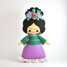 Frida Kahlo muñeca de fieltro 100% lana muñeca por UnBonDiaHandmade Frida Kahlo felt doll, noialand pattern