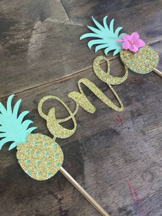 The Original Design Pineapple Cake Topper. First Birthday Cake Topper, Luau Cake Topper. One Birthday, First Birthday Flamingo Birthday, Luau Birthday, Flamingo Party, Summer Birthday, 1st Birthday Girls, First Birthday Parties, First Birthdays, Luau Cakes, First Birthday Cake Topper