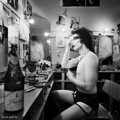 Tim Curry in his dressing room during filming of Rocky Horror Picture Show - so fabulous <3