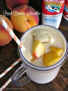 10 Most Misleading Foods That We Imagined Were Being Nutritious! An Easy For Peach Banana Smoothie Alidaskitchen Easy Smoothie Recipes, Easy Smoothies, Fruit Smoothies, Milkshake Recipes, Vitamix Recipes, Smoothie Drinks, Drink Recipes, Peach Banana Smoothie, Chocolate Banana Smoothie