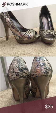 Call it Spring Snakeskin Heels Only worn once  The inside says says 38(euro) but they fit like a size 7 🎀will consider reasonable offers🎀 Call It Spring Shoes Heels