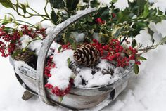 Can't Think of New Ideas for Christmas Decor? Check Out These Photos: Display a Holly Basket on Your Porch
