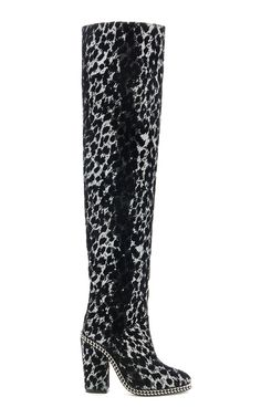 Emma Leopard Over the Knee Boot by BALMAIN for Preorder on Moda Operandi