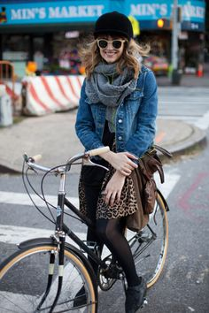 Love everything about this girl - starting with her leopard, rad bike, and beautiful smile!