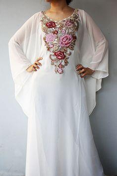 Exclusive One Moroccan White Caftan Red Gold Sequin EMBROIDERY Dubai Abaya Maxi Dress Jalabiya