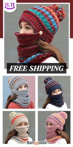 Women Winter Warm Thicken Plus Velvet Knit Hat Scarf Set Crochet Adult Hat, Bonnet Crochet, Crochet Mask, Crochet Headband Pattern, Afghan Crochet Patterns, Crochet Stitches, Knit Crochet, Hat And Scarf Sets, Crochet Woman